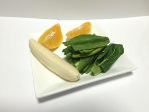 小松菜とオレンジのグリーンスムージー材料